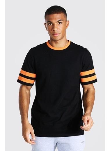 XHAN Siyah & Beyaz Bisiklet Yaka Yaka & Kol Garnili T-Shirt 1Kxe1-44752-86 Siyah